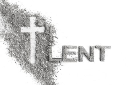 Lent word written in ash, dust as fast and abstinence period concept. Top view