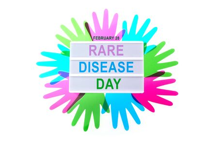 Rare Disease Day Poster or Banner Background. Top view Imagens
