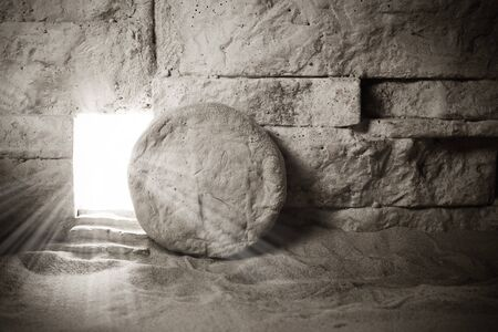 Tomb of Jesus. Jesus Christ Resurrection. Christian easter concept