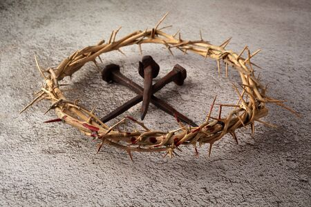Jesus Christ Crown of thorns with three nails. Religion background. Easter symbol. Crucifixion Of Jesus Christ. Stock Photo