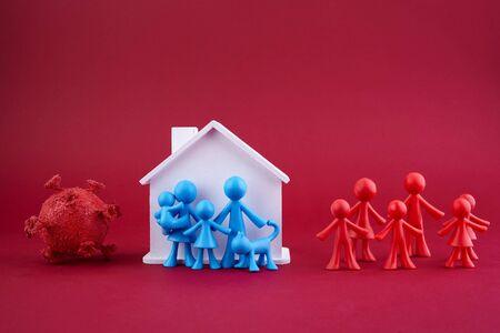 Stay home concept. Home quarantine. Coronavirus outbreak concept. Coronavirus pandemic. Family concept.