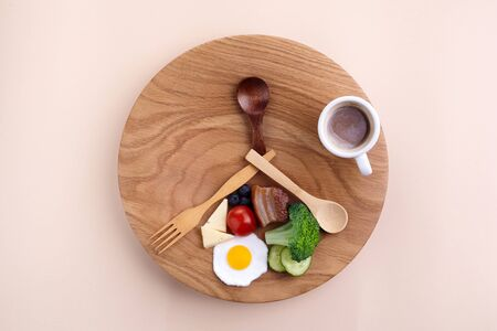 Intermittent fasting. Healthy breakfast, diet food concept. Organic meal. Fat loss concept. Weight loss.