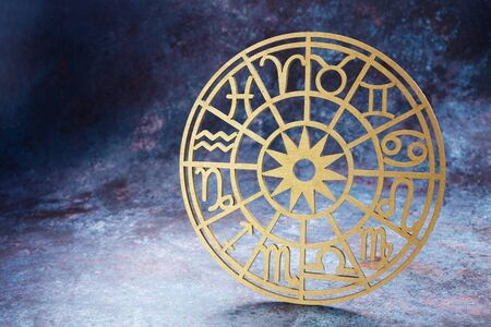 Zodiac signs horoscope circle on dark background. Astrology background.