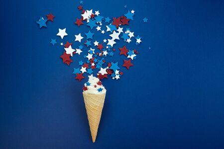 Treats of independence day. 4th of july background with icecream