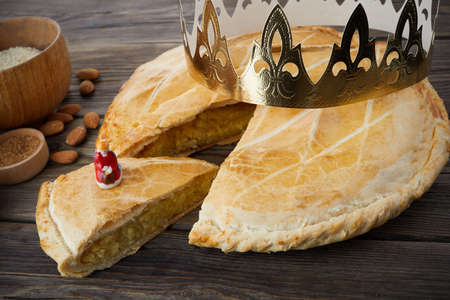 Epiphany cake, French Galette de rois with figure surprise 免版税图像