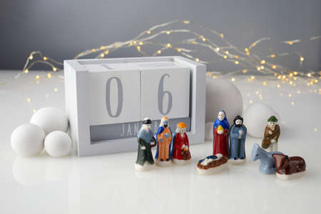 Happy Epiphany day, three kings day. Calendar with three kings on white background