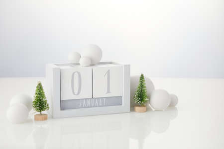1 january wooden calendar with decorations on white table background