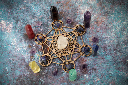 Healing Chakra crystals. Meditation, Reiki or spiritual healing background.