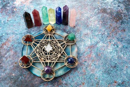 Meditation, reiki and crystal healing background. Healing crystals grid.