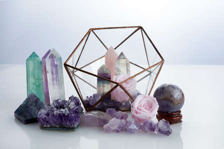 Healing gemstones crystals. Reiki, esoteric, relax and balance conept.