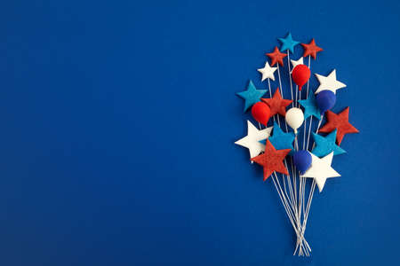 Happy Labor Day banner. Red, white, blue color stars and baloons on blue background.