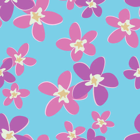 Vector flat seamless pattern of pink flowers on a blue background.