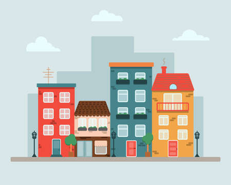 City with colorful houses by the road.  イラスト・ベクター素材