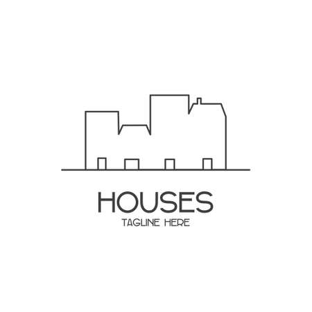 Vector  with outlines of houses on a white background for construction companies, designers, architects, and the like.