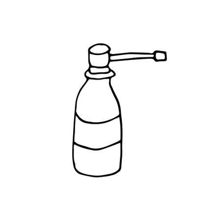 Vector image of a spray gun in the Doodle style. Medical oral and nasal spray.