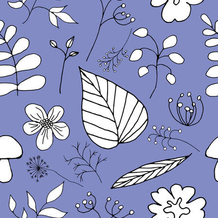 Vector seamless floral pattern on a lilac background.