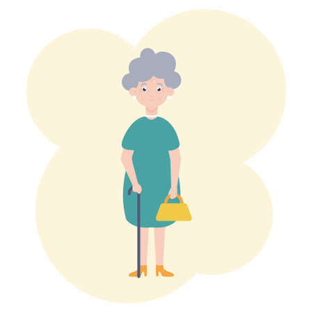 Vector image of a cute grandmother in a dress with a cane and a bag in her hands. Illustration