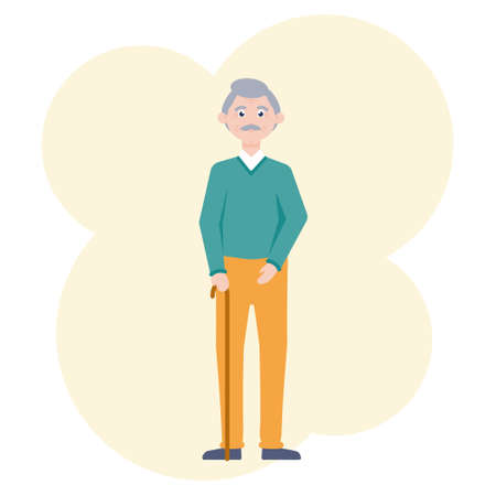 Vector image of a kind grandfather with a mustache and a cane in his hand.