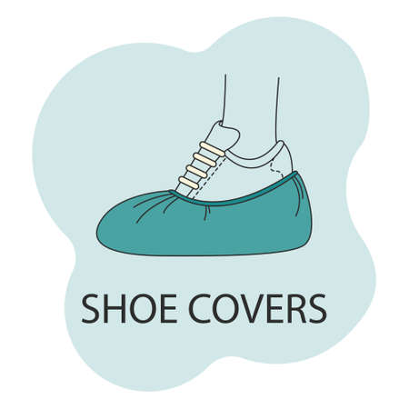 Vector image of Shoe covers in color, foot protection icon on a white background. Vetores