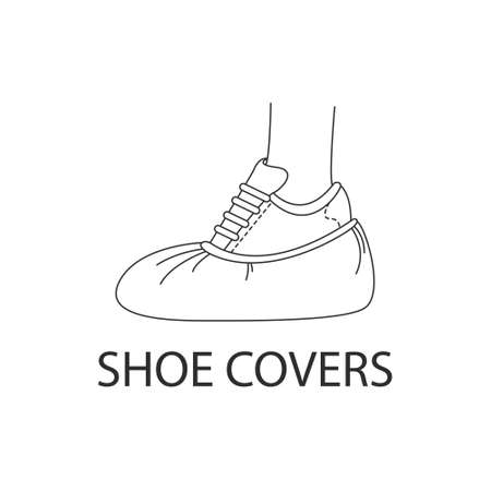 Vector image of medical Shoe covers, foot protection icon. Linear style on a white background.