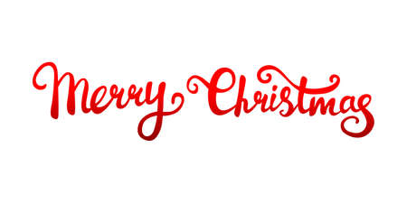Vector text of Christmas greetings written by hand, red gradient on a white background. Lettering.