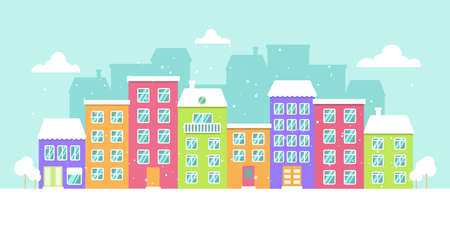 Vector winter panorama of a colorful city, snowy day, bright houses. Vector Illustration