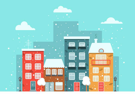 City with colorful houses by the road in the winter light season, vector flat image, snow and snowflakes. 写真素材 - 157885029