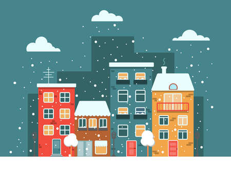 City with colorful houses by the road in winter night time, vector flat image, snow and snowflakes.