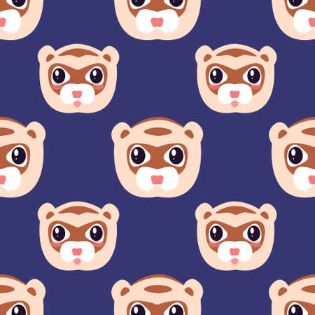 Vector seamless fun children's pattern with funny ferret faces on a dark purple background.