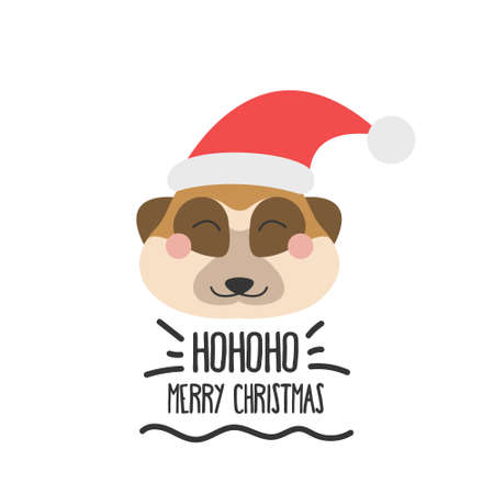 Cute funny face of a meerkat in a Santa hat with the inscription merry Christmas. Vector flat style on a white background.