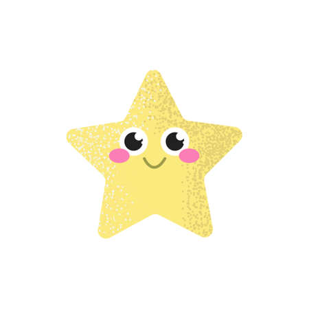 Smiling star with rosy cheeks on a white background, children's decor.