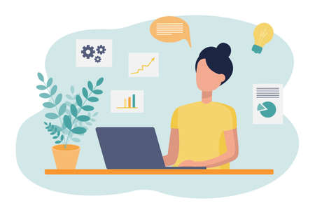 Office work, multitasking, Analytics. A woman is sitting at a Desk and working on a laptop. Icons, home furnishings, online training. Vector flat illustration. Иллюстрация