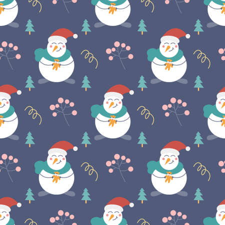 Snowman with a gift, Christmas trees and other decorative elements on a blue background. Christmas and new year printing. Vector seamless pattern. Children s decor. Ilustração