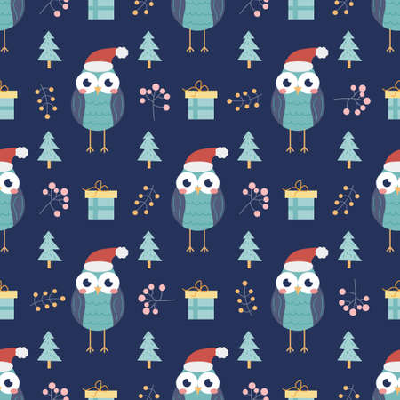 Owl with gifts and Christmas trees and other decorative elements on a dark blue background. Christmas and new year print. Vector seamless pattern. Children s decor.