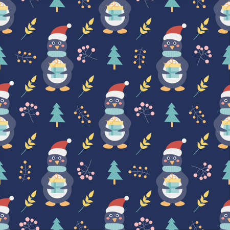 Penguin with a gift and Christmas trees and other decorative elements on a dark blue background. Christmas and new year printing. Vector seamless pattern. Children s decor.