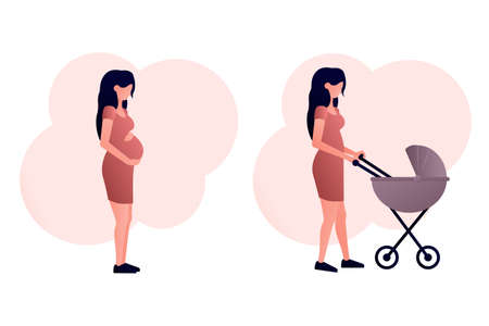 A set of two images a pregnant girl hugs her stomach, a young mother walks with a stroller. Icons on the theme of motherhood. Vector flat illustration with a gradient on a white background.