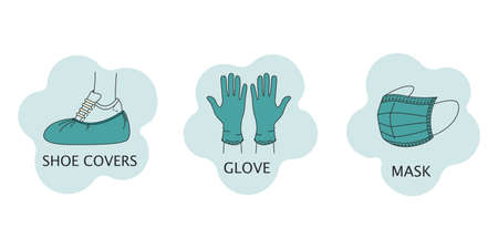 Set of vector icons with individual protection from coronavirus latex gloves, medical mask and Shoe covers. Flat style isolated on a white background.