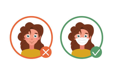 Sign: You are not allowed to enter without a mask. Warning about wearing a mask in public places. A girl with a mask and without it. Vector flat illustration isolated on a white background.