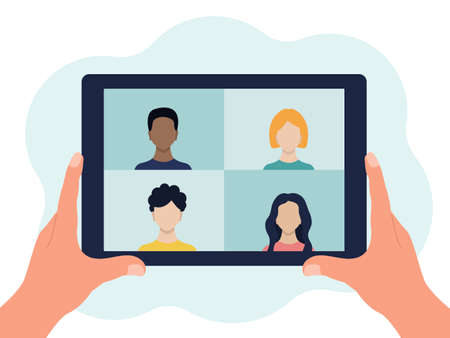 Tablet device in their hands. There are 4 people on the screen. Video conference, online communication. Vector flat illustration isolated on a white background.