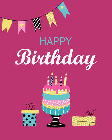 Happy birthday. Greeting card, poster, invitation. Cake with candles and gifts on a pink background. Vector flat image. Иллюстрация