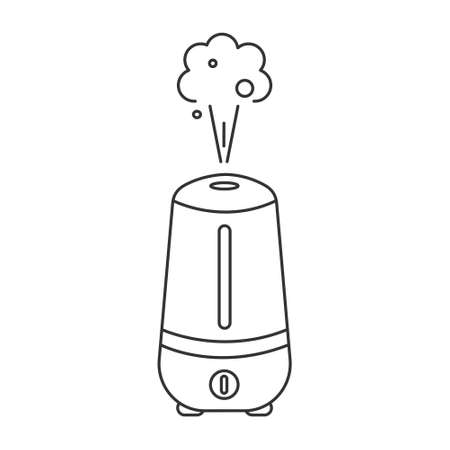 Icon of a humidifier in a linear style, household or office equipment. Vector image isolated on a white background. Vettoriali