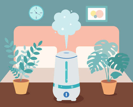 Humidifier in the bedroom with home plants on the table. Ultrasonic device, air aromatization. Vector illustration in cartoon style.