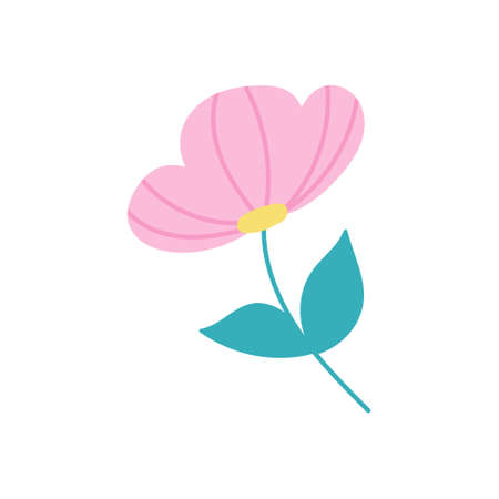 Cute pink flower on white background. Vector flat illustration