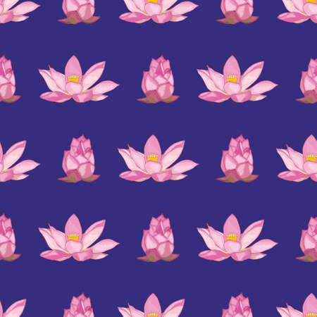 The Lotus flowers were painted with a brush on a dark purple background. Vector seamless pattern.