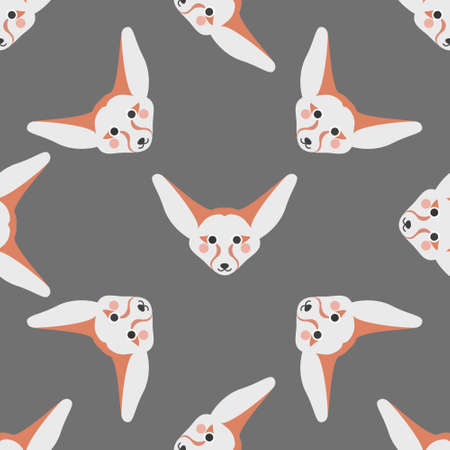 Cute face of Fennec fox on a gray background. Vector seamless pattern in a flat style. Wallpaper, print.