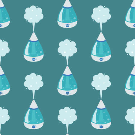 Humidifier on a green background. Vector seamless pattern in cartoon style.