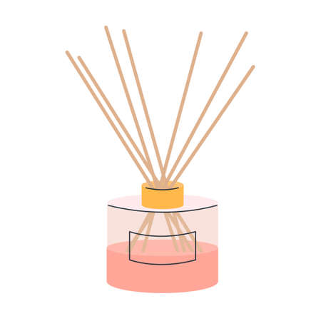 Aroma diffuser with bamboo sticks for home on a white background. Vector illustration in pink powder color, icon.  イラスト・ベクター素材