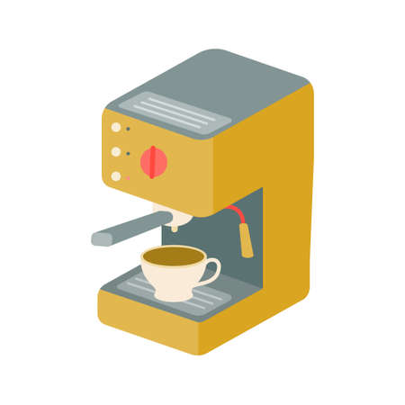 Coffee machine with a cup of coffee on a white background. Vector illustration, icon.