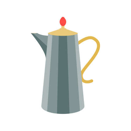 Coffee pot, kettle in vintage green with a curved handle on a white background. Vector illustration, icon.