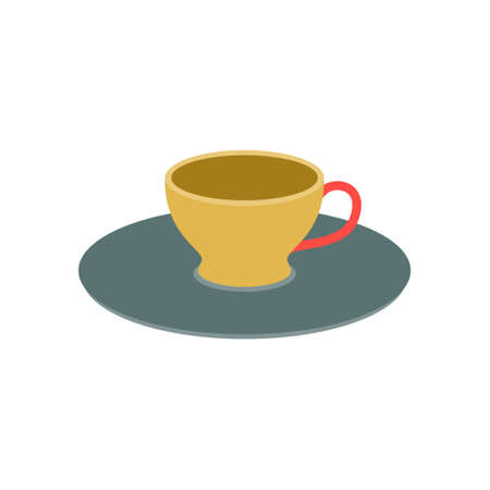 Coffee cup on a saucer on a white background in green and yellow vintage color. Vector illustration, icon.
